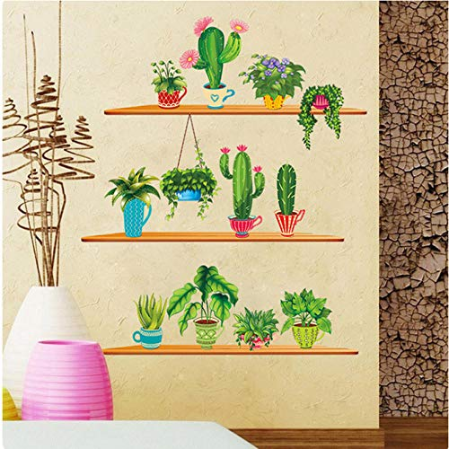 Xxscz Green Potted Plant Muursticker met planken Cactus Bonsai Muurmuurschildering Poster Kunstkast Eetkamer Zelfklevend Behang