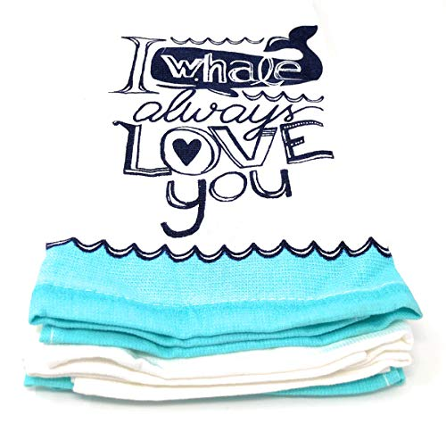 Cynthia Rowley Set of Two Kitchen Towels I Whale Always Love You Aqua, Blue/White, All Cotton   18 X 28 in