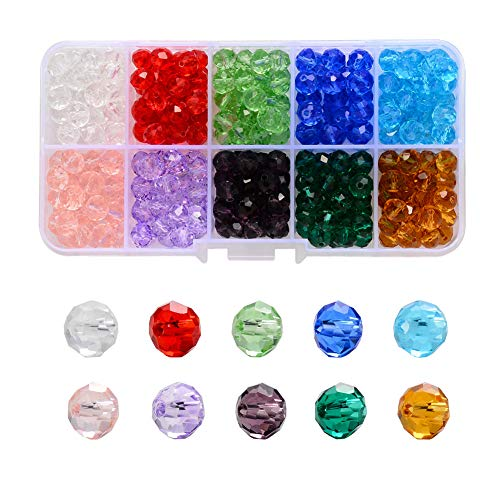 Cuentas de Cristal,500 Pcs 6 mm x 5 mm Abalorios Cristal Multifacéticas Cuentas Vaso Facetado Accesorios para Joyería Hacer Pulseras Collares Pendientes Bisutería Fabricación y Manualidades,10 Colore
