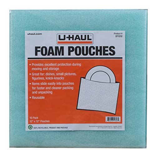 U-Haul Cushion Foam Pouches - Protect Fragile Dishes, Picture Frames, Decorations, Bowls, Glassware - Dish Protectors - 10 Pack, 12' x 12'