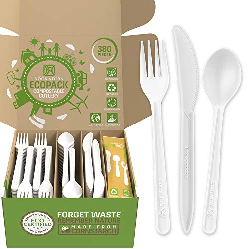Ecoware Compostable Cutlery – 380 Jumbo Pack Biodegradable Utensils Includes 160 Forks, 100 Spoons, and 60 Knives + 20 Travel Packs by Nook & Fork (Fresh White)