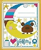 Kit de punto de cruz Certificado de nacimiento del oso Conjunto de Bordado 16 x 20 pulgadas DIY costura punto de cruz set decoración de pared principiante(11CT)