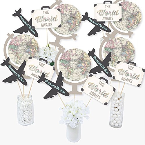Big Dot of Happiness World Awaits - Travel Themed Party Centerpiece Sticks - Table Toppers - Set of 15