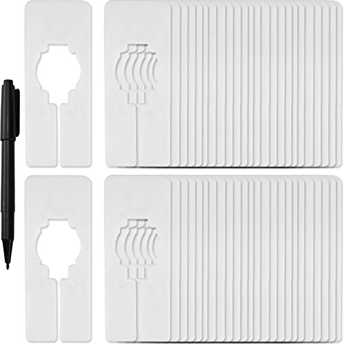 Blulu 50 Pack Clothing Rack Size Dividers Rectangular Hangers Dividers with 1 Piece Marker Pen