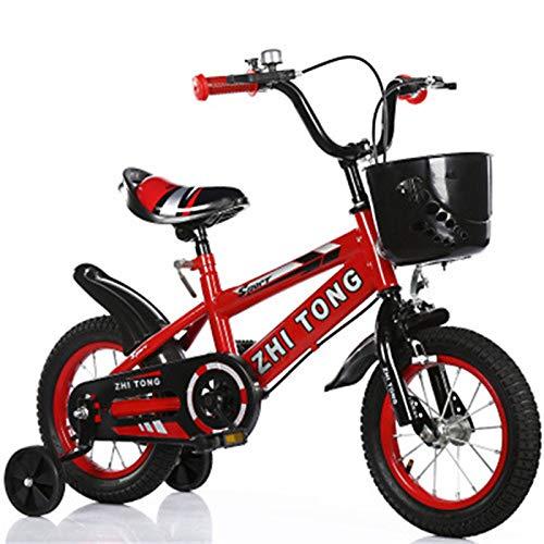 ZGF Bicicletta per Bambini, 12 14 16 18 Pollici Bici per Bambini con Ruote da Allenamento per Ragazze di 2-7 Anni di Altezza 27'- 35', Bici per Bambini,Rosso,18