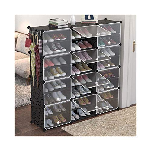 Zapatero, Gabinete de zapatos a prueba de polvo 12-cubo DIY zapato, unidad de cajón de almacenamiento Multi usado organizador modular Gabinete de plástico con puertas, blanco y negro patrón rizado