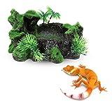 ALIANG Reptile Tank Decor-Reptile Water Bowl Resina Reptile Platform Diseño de Tronco de árbol Artificial Reptil Plato de Agua para Lagarto, Gecko, Rana de Agua, Serpiente, Otro Reptil