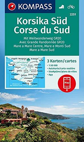 KOMPASS Wanderkarte Korsika Süd, Corse du Sud, Weitwanderweg GR20: 3 Wanderkarten 1:50000 im Set inklusive Karte zur offline Verwendung in der ... (KOMPASS-Wanderkarten, Band 2251)
