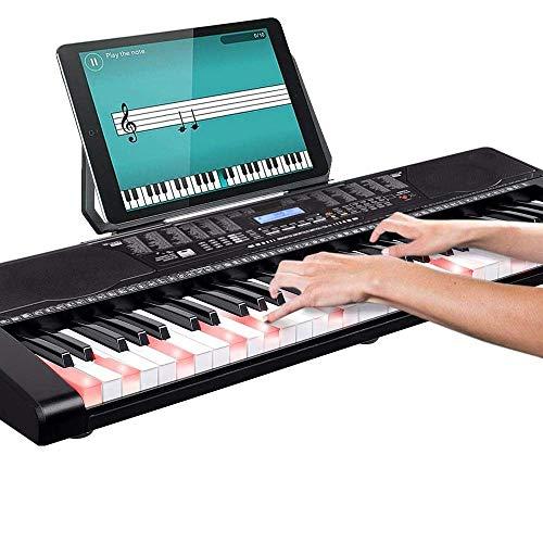 Bakaji - Teclado musical plano electrónico, 61 teclas luminosas, piano multifunción con 255 ritmos, 50 canciones preestablecidas, función de percepción, entrada AUX, soporte para partituras y tabletas