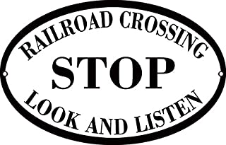 Railroad Crossing Stop Look and Listen Railway Sign