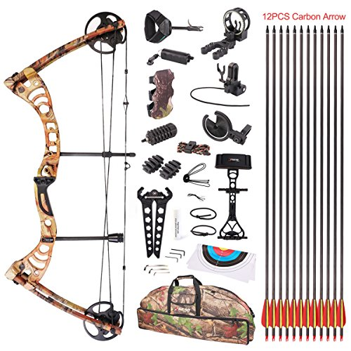 Leader Accessories Compound Bow 30-55lbs 19' - 29' Archery Hunting Equipment with Max Speed 296fps (Black)