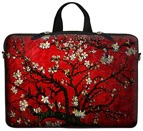 Neoprene Laptop Carrying Case Sleeve Bag w. Hidden Handle & Eyelet (D-Ring) for 17 17.3 Inch Notebook - Vincent Van Gogh Cherry Blossoming