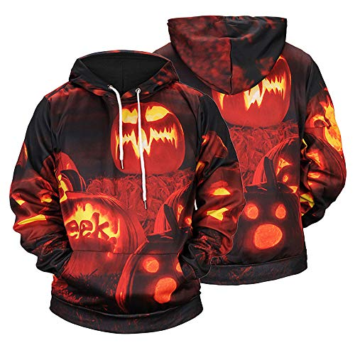 UJUNAOR Männer Damen Casual Scary Halloween Kürbis 3D Gedruckt Party Langarm Hoodie Top Bluse Mit Kapuze(Orange,CN 2XL)