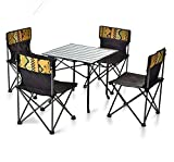 SHENAISHIREN Mesa y sillas Plegables, Mesa de Picnic Plegable portátil para Acampar Fiesta Jardín al Aire Libre Sillas de Barbacoa Taburetes Set