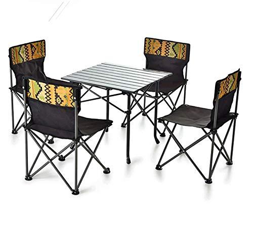 GAO-bo Mesa y sillas Plegables, Mesa de Picnic Plegable portátil para Acampar Fiesta Jardín al Aire Libre Sillas de Barbacoa Taburetes Set