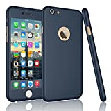 Tekcoo for iPhone 6S Plus Case, Tekcoo iPhone 6 Plus Case, [T360 HY] Ultra Thin Full Body Coverage Protection Scratch Proof Hard Hybrid Cover Shell with Tempered Glass Screen Protector [Blue]