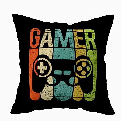 xdbgdfhdhdjdj Funda de almohada con cremallera oculta para el mando de juego, 45,7 x 45,7 cm, funda de cojín de algodón para el hogar, dormitorios, oficinas y más, color negro y verde