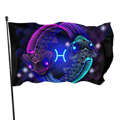 Carpas Azules y moradas Yin Yang Banderas con Forma de decoración Bandera Decoraciones de cumpleaños 3x5 pies Colores Vibrantes Calidad Polyest