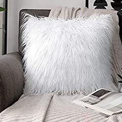 Shaggy Faux Fur White Accent Pillow Cover