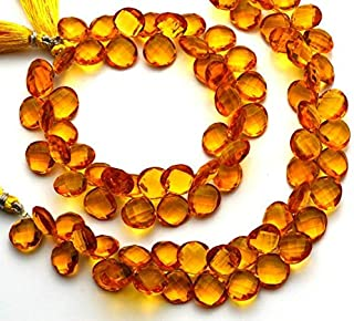 GemAbyss Beads Gemstone 1 Strand Golden Citrine Color Hydro Quartz Faceted 12MM Approx. Heart Shape Briolettes Beads 9 Inch Long Long Code-MVG-4680