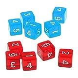 F Fityle Número de Dados Acrílico Azul Rojo D6 Dados para Juegos de Juego de (10 Piezas)