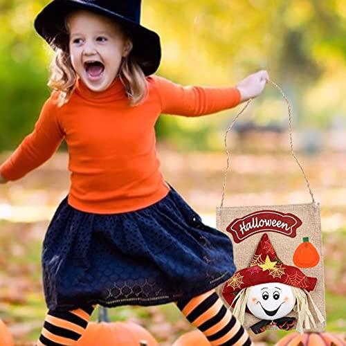 ROERDTRY Halloween-Kürbis-Tasche Leinenkinder-Einkaufstasche Geisterfestival-Event-Layout Kreative Geschenktüte Süßigkeitstasche Halloween-Kürbis-Tasche Kinder-Einkaufstasche Süßigkeitstasche