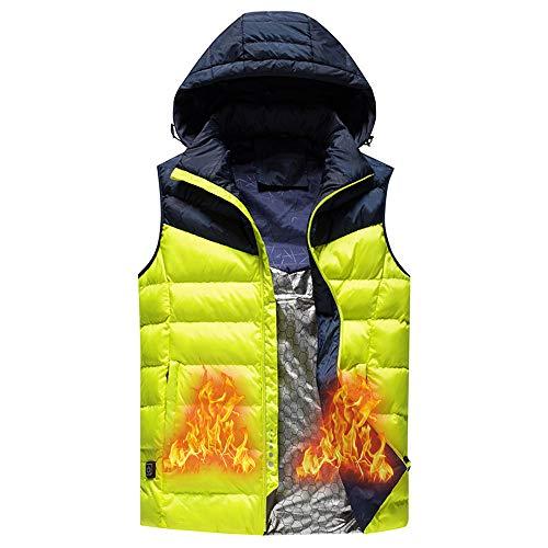 Roboraty Heren Verwarmd Vest, Lichtgewicht Infrarood Verwarming Vest, Heren USB Opladen Gilet, Elektrische Verwarmde Kleding Outdoor Sport en Wandelen (Gift) XXXXXL Geel