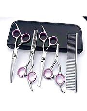 CLQ Kit de Tijeras para peluquería Canina, Herramientas de Corte para peluquería para Mascotas de Acero Inoxidable 6CR, Tijeras para Adelgazar, Rectas y Curvas para Gatos y más Mascotas