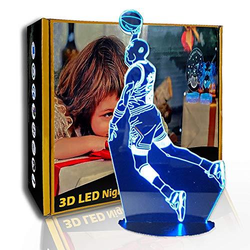 JINYI 3D Luz nocturna Dunk Figure Sports Baloncesto, Lámpara de ilusión LED, G- Control de Telefonía Móvil, Lámpara de dormitorio, Regalo de fiesta