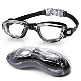 Uniswim Clear Swim Goggles,Swimming Goggles No Leaking Anti Fog UV Protection Clear Wide View Triathlon Swim Goggles for Adult Men Women Youth Teens-Black Lucency
