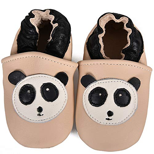 SUADEX Baby Lauflernschuhe Jungen Mädchen Leder Krabbelschuhe Weicher Kleinkind Babyhausschuhe Rutschfesten Wildledersohlen,Beige Panda,12-18 Monate
