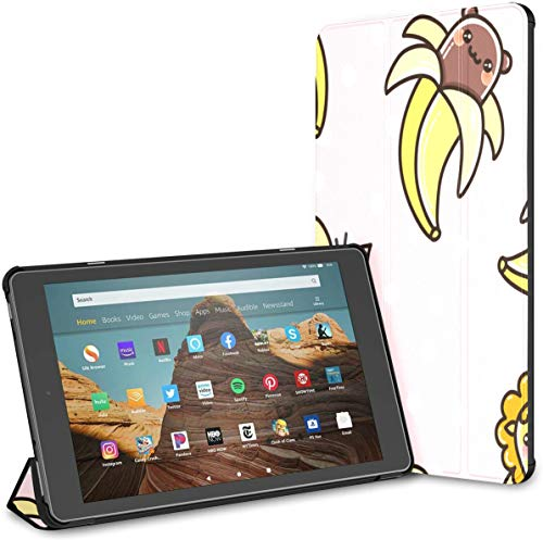 Ultra Thin Folding Case Compatible with 10.1' Amazon Fire HD 10 Tablet (9th/7th Generation,2019/2017 Release),Cover with Auto Wake/Sleep Cute Pattern Kawaii Bananas