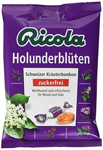 Ricola Holunderblüten, Schweizer Kräuterbonbon, 18 x 75g Beutel