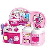 deAO Mi Primera Cocinita de Juguete Conjunto de Cocina Mini Infantil con Luces y Sonidos Incluye Accesorios y Actividad de Clasificación de Formas (Rosa)