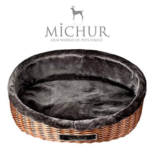 MICHUR LOUNGE, Hondenmand met Kussen Rieten, Kattenmand Wilg Bruine, Hondensofa indoor, Kat hond bed, Rotan, ca. 70x62x31cm