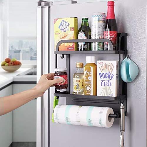 KLGO Magnetic Fridge Organizer,2 Tier Magnetic Spice Rack for Refrigerator,Magnet Fridge Organizer Spice Rack with Paper Towel Holder and 4 Extra Hooks,Black