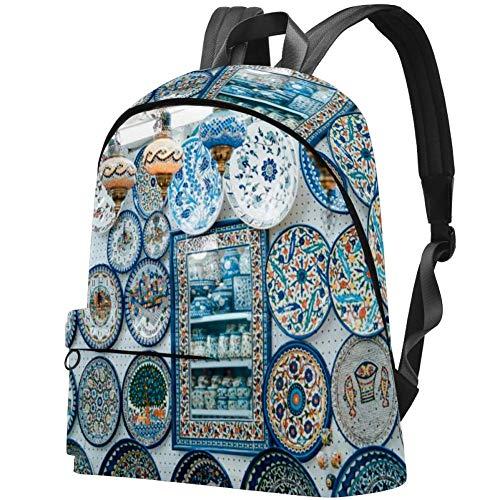TIZORAX Sac à Dos pour Femmes Assiette en Porcelaine Bleue et Blanche Grands Sacs d'école Sac à Dos Casual Daypack pour Voyage Randonnée