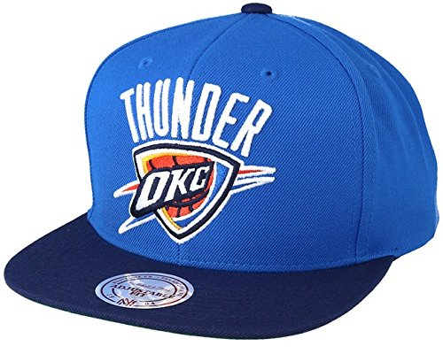 Mitchell & Ness NBA Oklahoma City Thunder XL Logo 2 Tone Snapback Cap Blue