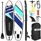 Tabla de Paddle Surf Inflable, Tabla de Paddle Surf Integral con Mochila, Aleta Inferior para remar, Bolsa Impermeable, Correa en Espiral, Paleta Ajustable y Bomba de Mano (Azul Claro)