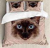 abakuhaus gatto set copripiumino, nazionale del gatto siamese degli animali, decorativo, 3 pezzi con 2 fodere cuscini, 230 x 220 cm, multicolore