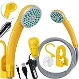 Kesser® Campingdusche mit Akku Tauchpumpe Handbrause 2200mAh-Lithium-Akku, USB-Ladekabel, für Camping Garten - Auto - Outdoor, Hundedusche, Autoreinigung, 12V Pumpe, Gelb
