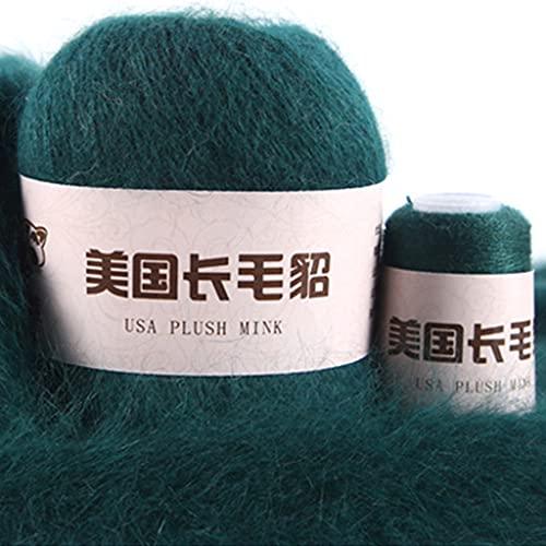50 + 20 g de lana larga de visón, grosor medio, hilo de lana de visón, hilo para tejer a mano,...