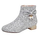LUXMAX Damen Stiefeletten Glitzer Flach Ankle Boots mit Reißverschluss Schleife Hochzeit Braut Schuhe(Silber 41)