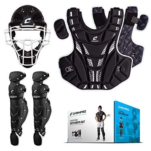 CHAMPRO Fastpitch Softball Catcher's Set - Headgear, Chest Protector, Leg Guards, Black, Age 8 & Under (CBSF8)