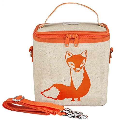 SoYoung Large Cooler Bag - Adult Lunch, Raw Linen, Eco-Friendly, Retro, Leakproof, Easy to Clean - Orange Fox