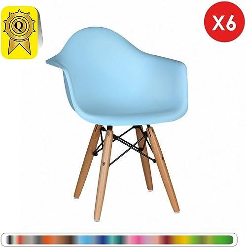 Decopresto Lot 6 x Fauteuil Enfant Inspiration Scandinave Pieds  Bois Naturel Siège  Bleu Ciel DP-DAWKL-BL-6P