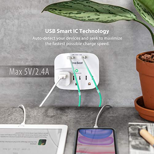 3-Outlet Surge Protector, Multi Plug Outlet Extender Power Strip with 2 USB Wall Charger(Smart 2.4A), 490 Joules, ETL Listed, Outlet Adapter for Home, School, Office