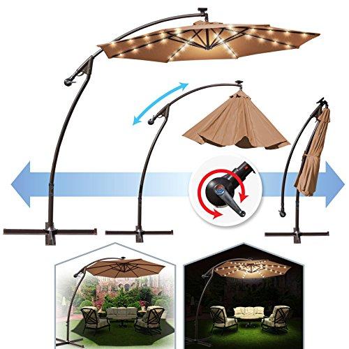 BenefitUSA 9' Cantilever Patio Umbrella 40 LED Light Outdoor Garden Sunshade (Tan)
