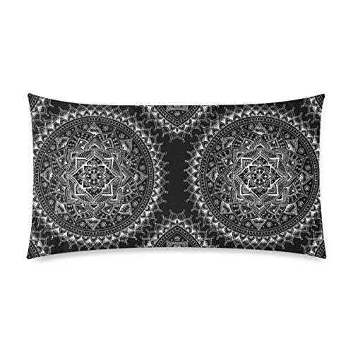 WOWPCASES Funda de Almohada de Algodón con Diseño de Mandala de Flores Blancas en Color Negro con Cremallera y Diseño de Dos Caras, Tamaño King 50,8 x 91,4 cm