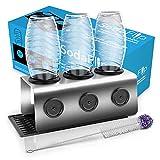 Sodaflip (Das Original) Edelstahl Flaschenhalter 3er / Flaschenhalter Sodastream, Abtropfhalter kompatibel mit Soda Stream Crystal, Aarke UVM. (jetzt inkl. Bürste +Schutzringe)